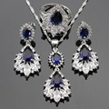 Created Sapphire Blue White Topaz Silver Color Jewelry Sets For Women Long Drop Earrings Necklace Pendant Rings Free Gift Box