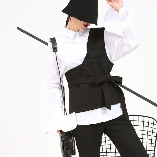 [Soonyour] 2017 Европейский моды личности лук кружева сплошной цвет шерстяной жилет женский рыцарь плеча топы оптовая