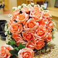 2017 Handmade 24 Pcs Artificial Rose Bridal Bouquet New Design for Wedding Accessories 1 Piece Free Shipping In Stock