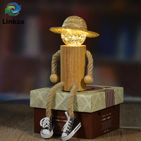 Novelty Toy LED Wooden Puppet Night Light USB With Remote Controller Hemp Straw Hat Lights Children Home Desk Decoration Gift