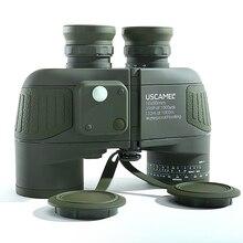 Militaire 10X50 Hd Marine Verrekijker Zoom Afstandsmeter Kompas Telescoop Oculair Waterdicht Stikstof Legergroen Uscamel