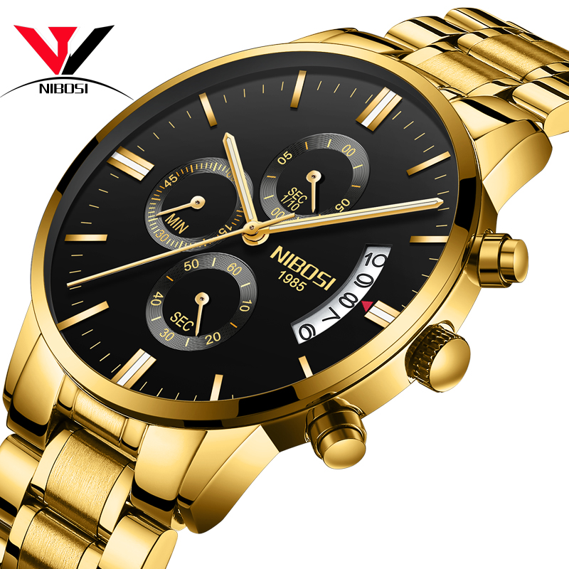 Image 2 - NIBOSI Relogio Masculino Watch Men Gold And Black Mens Watches Top Brand Luxury Sports Watches 2019 Reloj Hombre Waterproof-in Quartz Watches from Watches