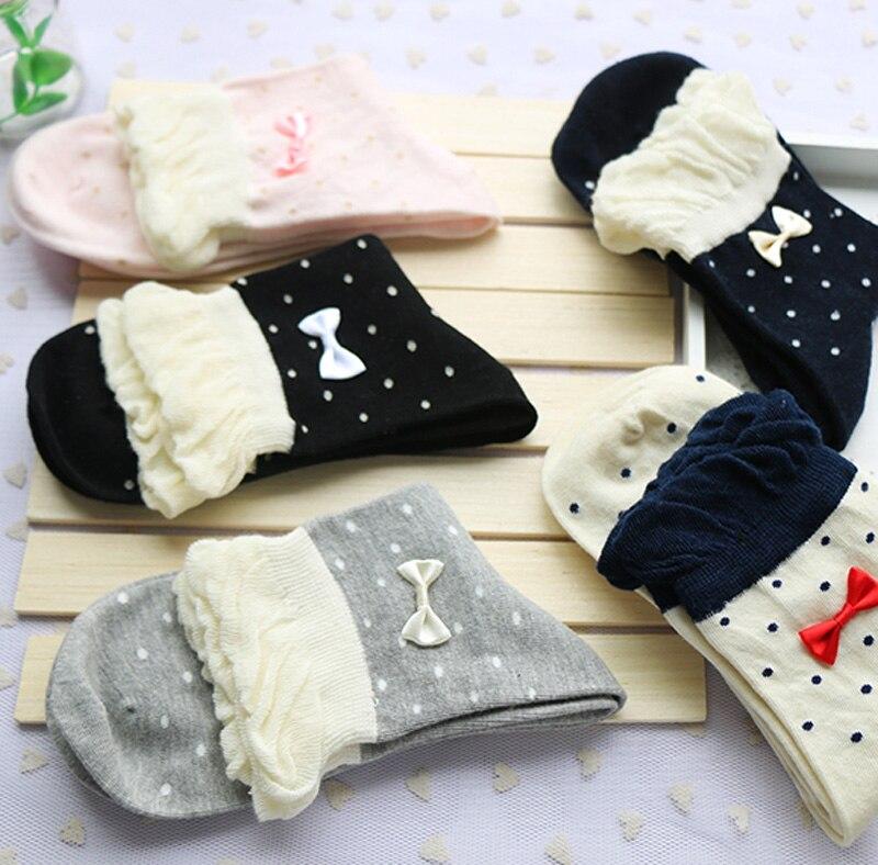 5 Pairs Lot Students Cute Bowknot Polka Dots Cotton Short