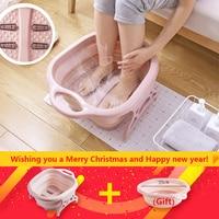 Foot massage bucket foot SPA Chinese health care Foot bath Foldable massage basin Portable washtub washbasin folding basin Gift