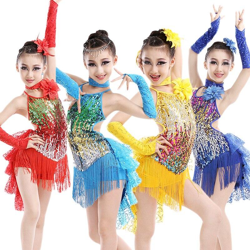 2018. gada jaunās pušķu meitenes latīņu deju kleita bērniem zili sarkani rumba deju kostīmi bērni praktizē deju apģērbu sacensībām