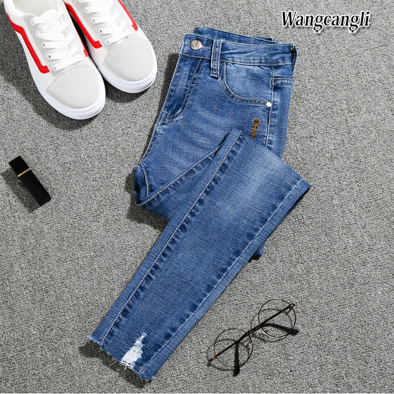 2019 Spring Summer Ripped Jeans Woman Fashion Plus Size 5XL Feet Denim Jeans High Waist Girls Nine Pants Jeans For Women 016#