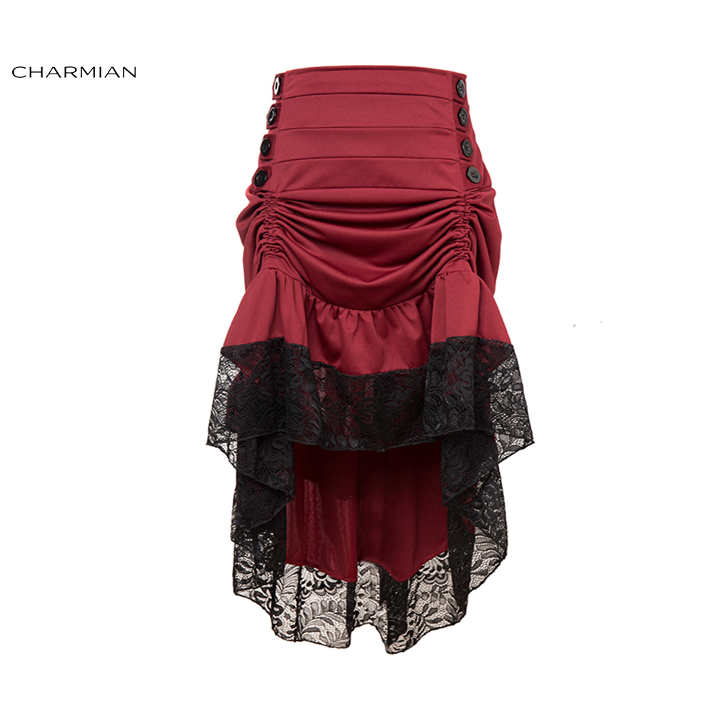 Charmian Women's Vintage Victorian Gothic Skirt Black Floral Lace Ruffled Medieval High Low Skirt Sexy High Waist Skirts