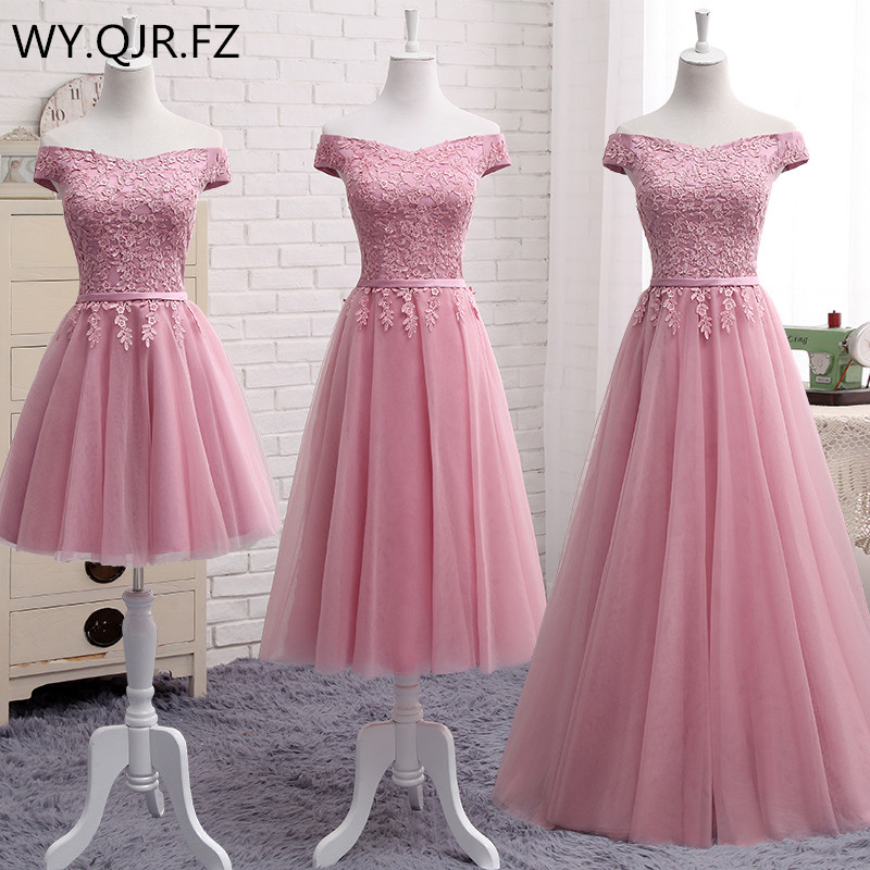 QNZL987D#Off Shoulder Gauzy pink lace up bridesmaid dresses new spring summer 2019 short Middle long style party prom dress