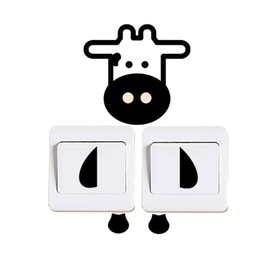 Kawuder interruptor negro Pegatinas de pared PVC pegatinas de nevera decoración para interruptor de luz calcomanías arte Mural para habitación de bebé NOV27