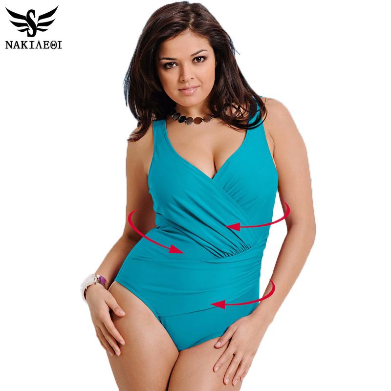 NAKIAEOI 2017 New One Piece Swimsuit Women Plus Size ...