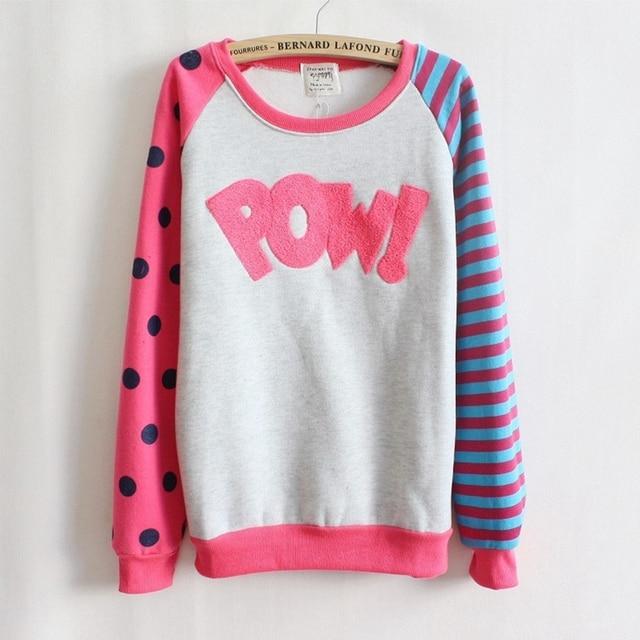Pow! letras reunindo velo dentro camisolas grande ponto e manga tarja nice design mulheres hoodies das Camisolas 4 cores 9064