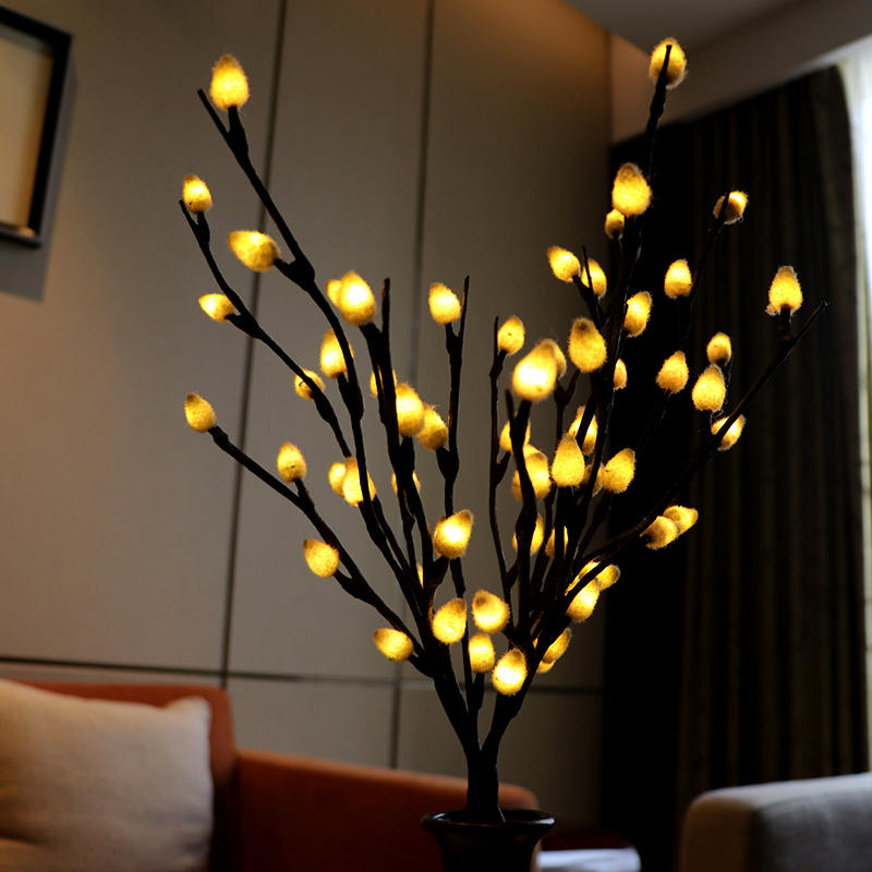 Plush Ball Twig Branch Light Artificial Flower Decorative Tree Plant Floral Blossom Branches Lighting Lamp For Home Decoration