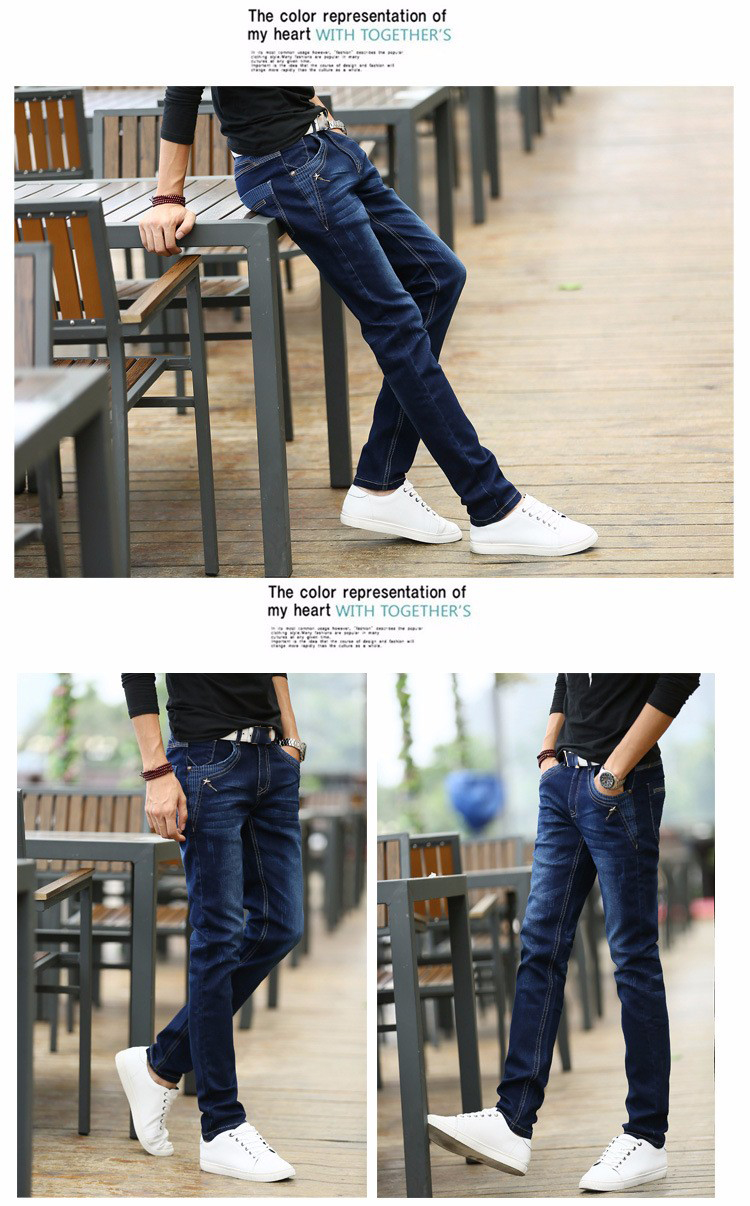 KSTUN Jeans Men's Stretch Blue Buttons Pockets Design Slim Fit Skinny Denim Pants Joggers Jeans Casual Biker Motor Male Trousers 18