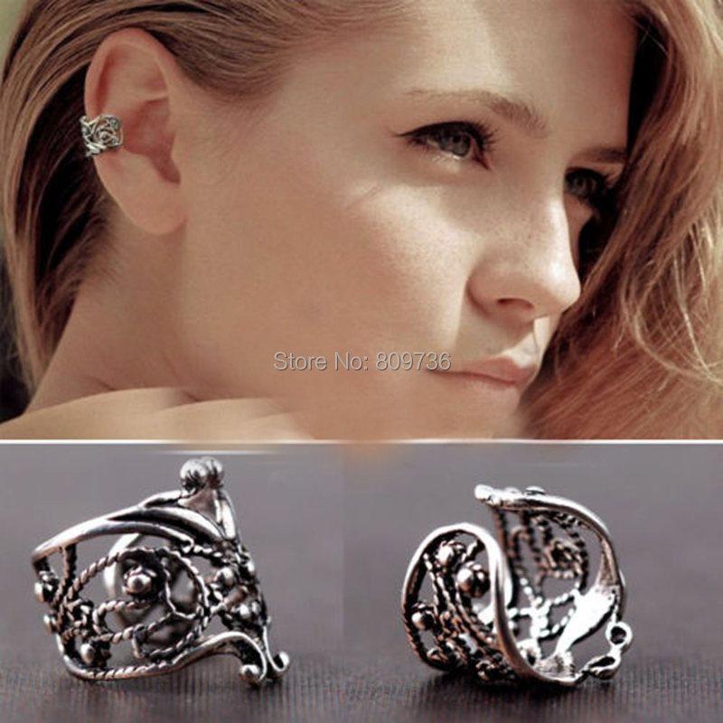 Bijoux D Oreille Cartilage 2 pcs vintage fleur oreille manchette oreille clip boucle d'oreille