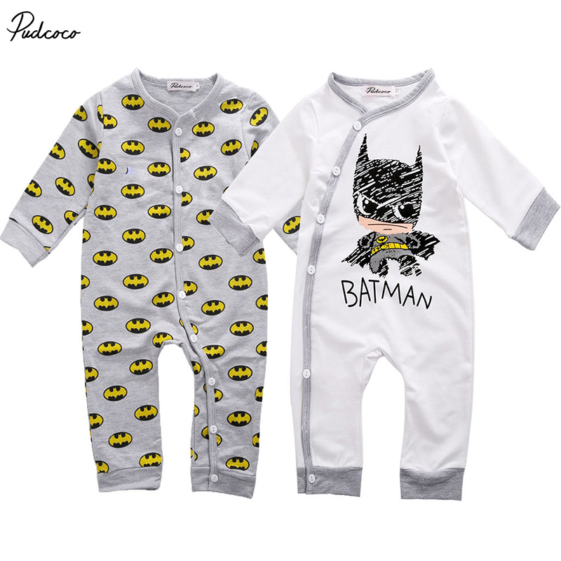 Newborn Baby Girls Boy Batman Rompers Playsuit One-pieces Outfits 0-18M polka dot baby girls clothes backless flounced kid girls rompers jumpsuit playsuit one pieces outfits 0 18m blue pink purple
