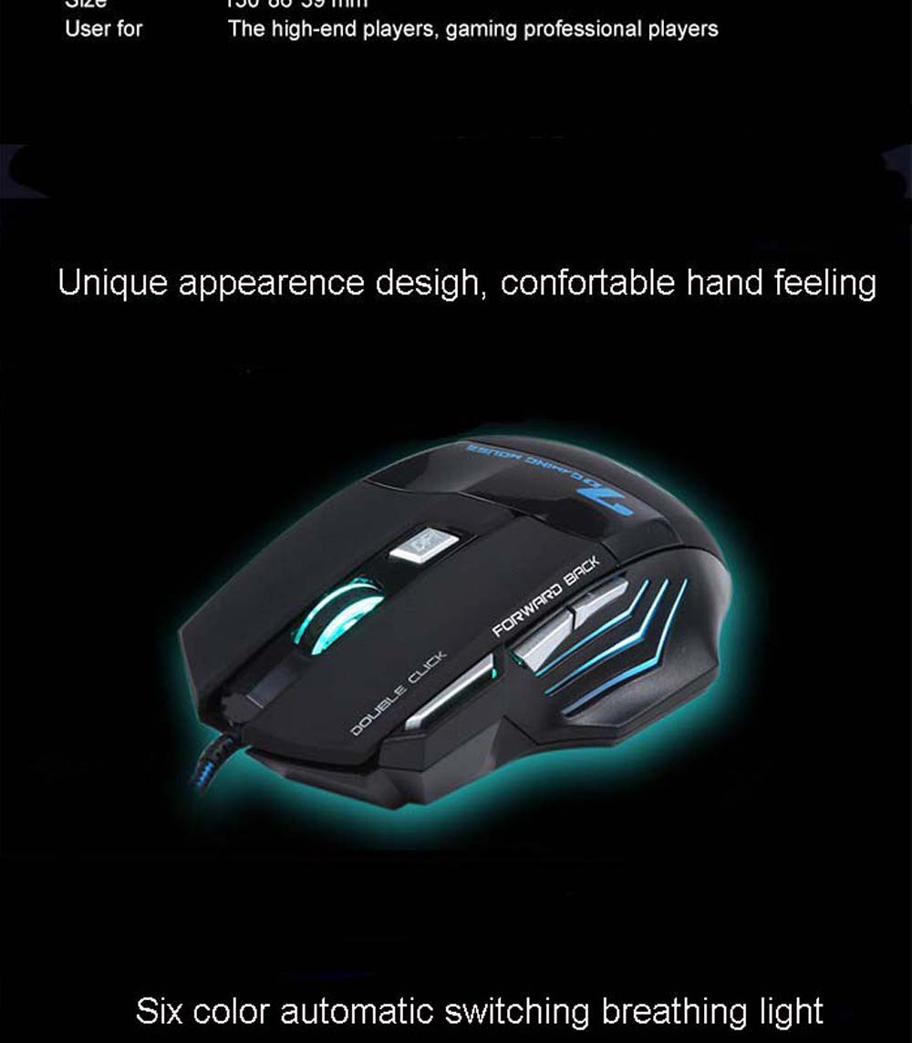 Purple/Blue/Red LED Breathing Backlight Pro Gaming Keyboard Mouse Combos USB Wired Full Key 5500dpi Professional Mouse Keyboard