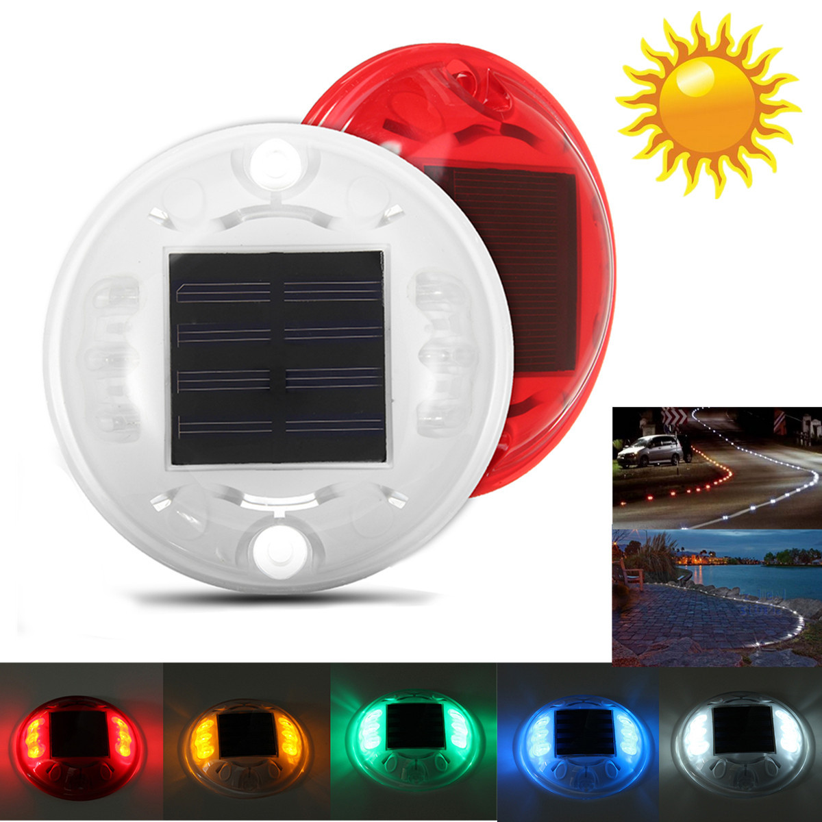 5 Color IP68 Waterproof outdoor Light Colorful 4 LED Garden Solar Powered Light Road Path Ground Lamp Modern Round Floodlight