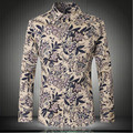 Men's pattern cotton long-sleeved shirt Korean version of the retro men's boutique long-sleeved shirt men's shirts