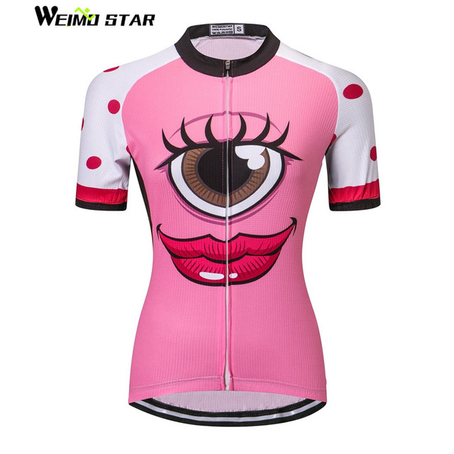 big eyes Pink Cycling Jersey Women Bike Clothing Bicycle Top Ropa Ciclismo  Sport T-Shirt Short sleeve Maillot Girl Riding Jersey da396a37c