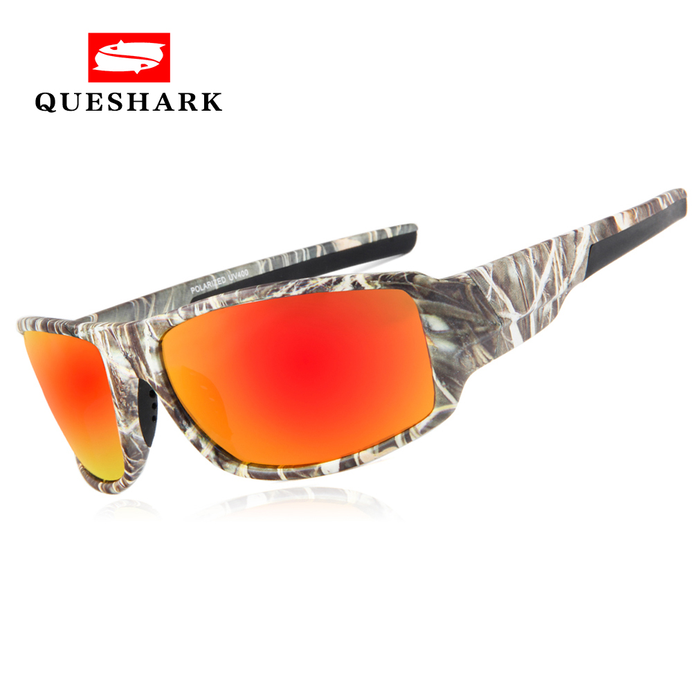 QUESHARK Men Camouflage Frame Polarized Sunglasses Sports Camo Fishing Eyewear Cycling Bike Goggles Camping Hiking Sunglasses queshark uv400 polarized fishing sunglasses glasses cycling bike bicycle motorcycle driving hunting hiking sport fishing eyewear