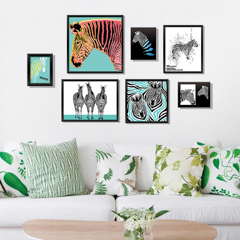 US $5.7 45% OFF|Photo Frame Art Zebra Wall Stickers Fashion Home Decor  Bedroom Living Room Decoration Art 3D Vinyl DIY Wallpapers Waterproof-in  Wall ...