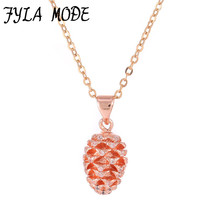 Fyla Mode Micro Pave Zircon Pine Cone Necklace For Women Tiny Simple Design Pendant Charm Friendship Necklace Female Jewelry