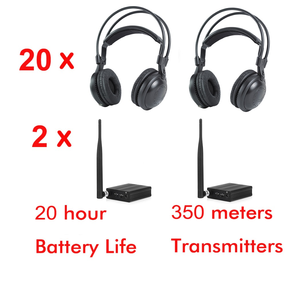 2 canaux Ultra basse basse classique silencieux disco casque sans fil-Fo DJ musique pary club 20 casque + 2 émetteurs