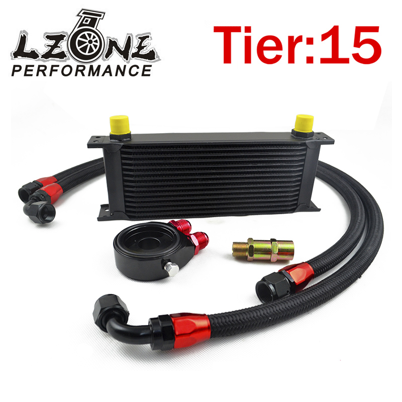 ФОТО LZONE RACING- UNIVERSAL 15 ROWS OIL COOLER+OIL FILTER SANDWICH ADAPTER BLACK + SS NYLON STAINLESS STEEL BRAIDED AN10 HOSE