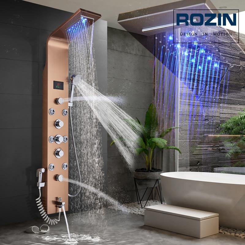 Shower-Panel Waterfall Rain Rose-Golden 3-Handles Led-Light Jets-Spout Bath