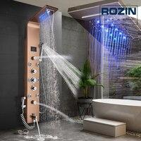 Насадка для душа со светодиодной подсветкой, система для ванной, душевая колонка, роза, Золотой дождь, водопад, душевая панель, 3 ручки, с ручн