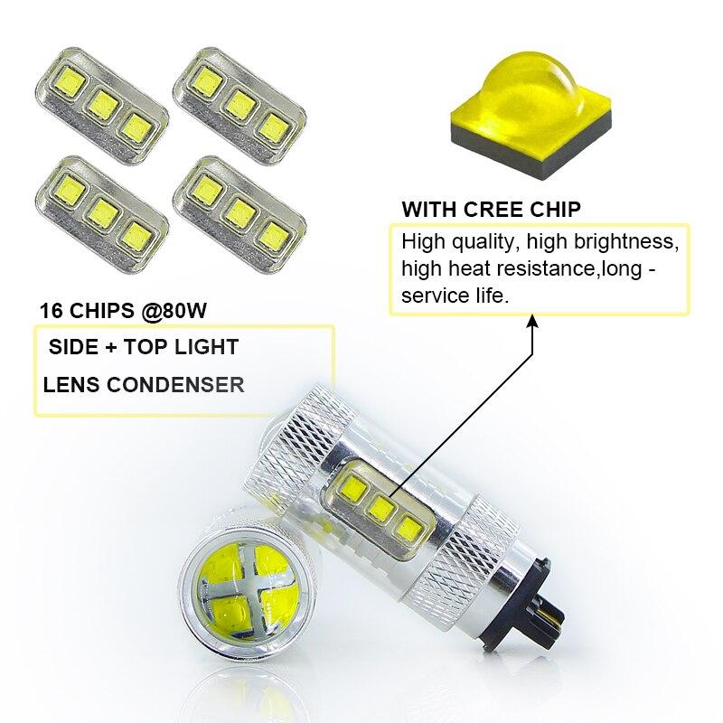 2x LED napake brez napake PWY24W PW24W Avtomobilske sijalke DRL - Avtomobilske luči - Fotografija 3