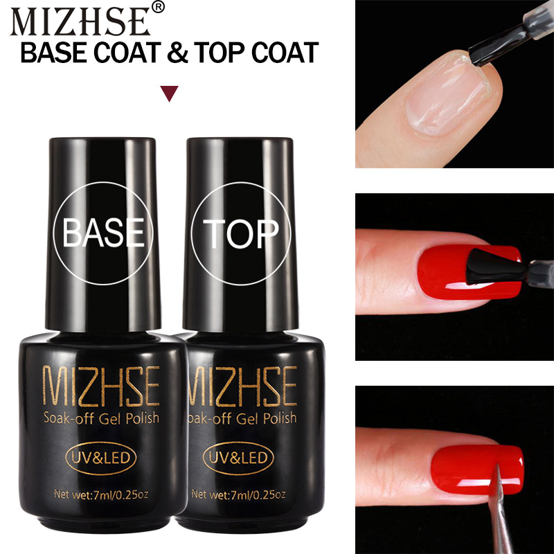 MIZHSE 7ml Base And Top For Nails Polish Top Without An Adhesive Layer Base For Gel Varnish Primer For Nails Under Gel-Lacquer