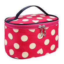 Portable Waterproof Multifunction White Dot Rose Red Bottom Love Heart Cosmetic Bag Travel Package Makeup Bag Case