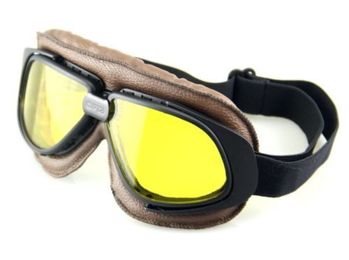 fcb7c7dd5021 New discount Goggles cross country Pilot Cruiser Motorcycle Bike Tactical  Aviator Goggles Brown Frame Black Strap Yellow Lens-in Motorcycle Glasses  from ...