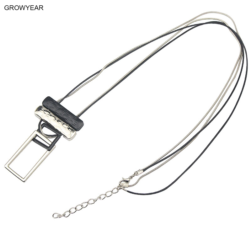 Fashion Alloy Woman Long Necklace Sweater Dress Acessory Two Tone Rectangle Charms Linked Pendant Necklace