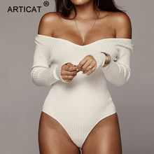Articat Off Shoulder Ribbed Knitted Sexy Bodysuit Women Black V Neck Autumn Slim Rompers Womens Jumpsuit Winter Basic Bodysuits(China)