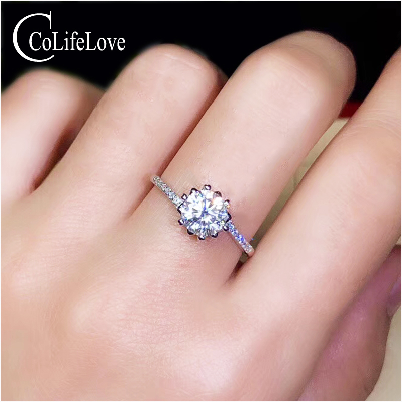 CoLife Jewelry Moissanite Wedding for Woman 1ct D Color VVS1 Grade Moissanite Silver Ring 925 Silver