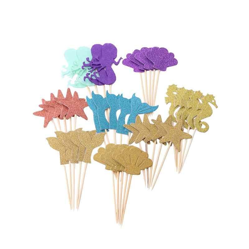 39 pçs atraente sereia estrela cupcake topper para crianças aniversário sereia cupcake topper festa decoração suprimentos a3