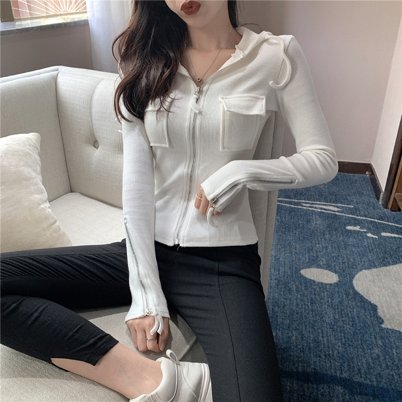 2019 Spring and summer Women's Clothing Jackets new coats and jackets women full vintage solid pockets Simple slim zipper 23