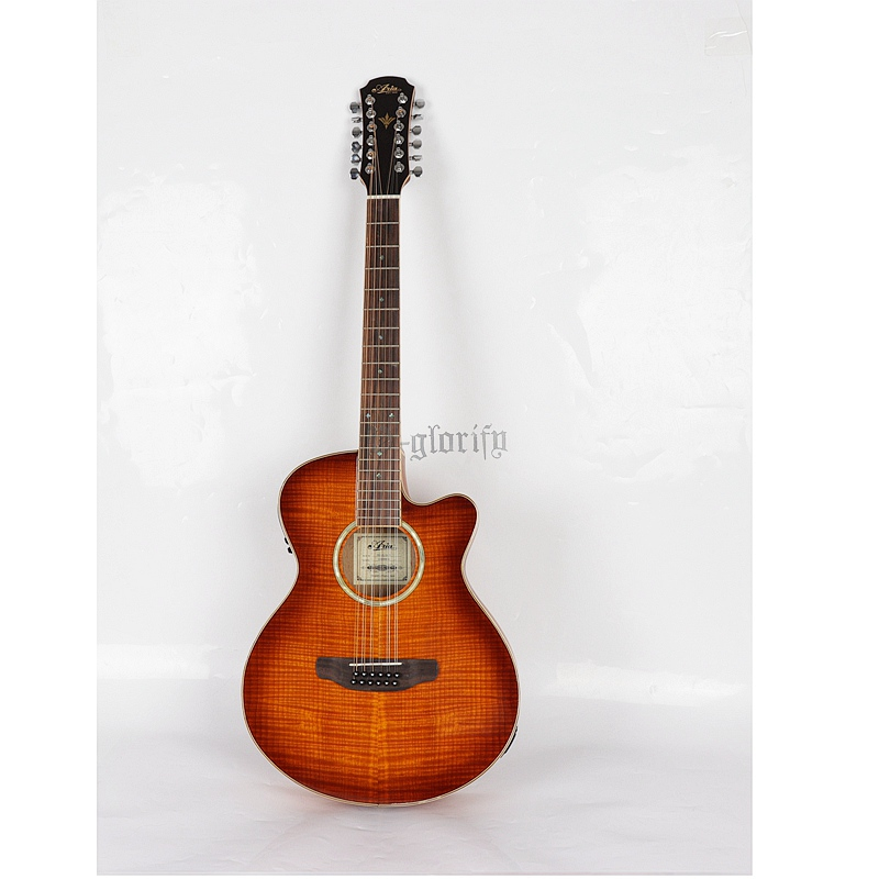 stock good quality flame maple top 12 String Acoustic Electric Guitar new arrival 6 string classic acoustic electric guitar top quality in orange 110508