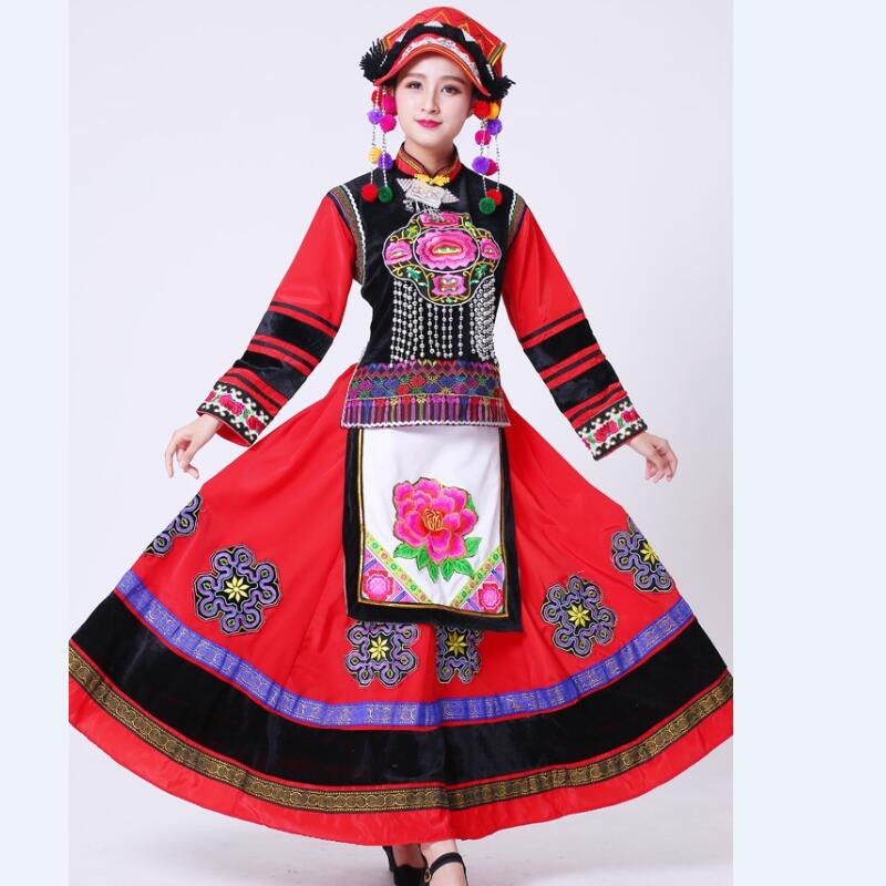 Embroidery Hmong costumes female miao clothes Chinese Traditional Dress Performance wear Chinese folk dance clothing for women in Chinese Folk Dance from Novelty Special Use