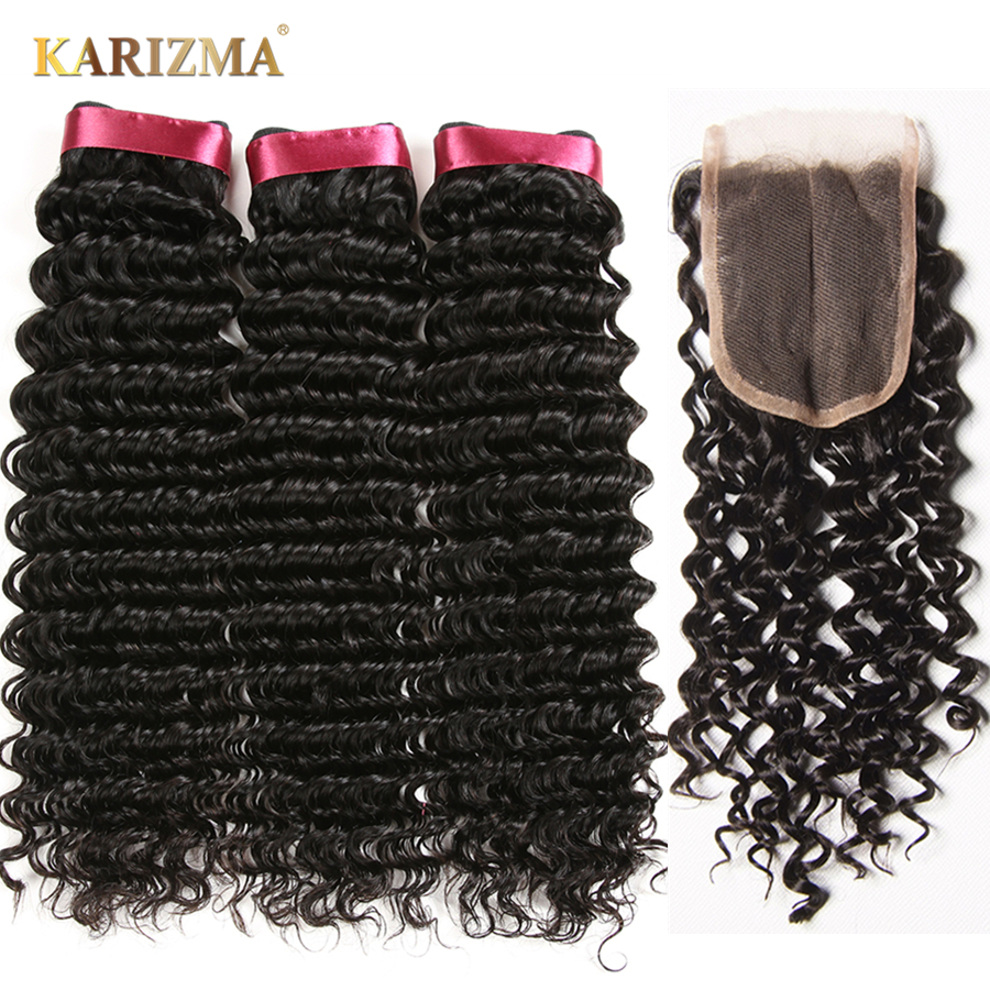 Karizma Deep Wave Brazilian Hair 3 Bundle Deals Med Closure Middle - Mänskligt hår (svart) - Foto 1
