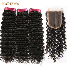 Karizma Deep Wave Brazilian Hair 3 Bundle Deals Med Closure Middle Part 100% Human Hair Weave Bundles 4Pcs / lot Non Remy Hair