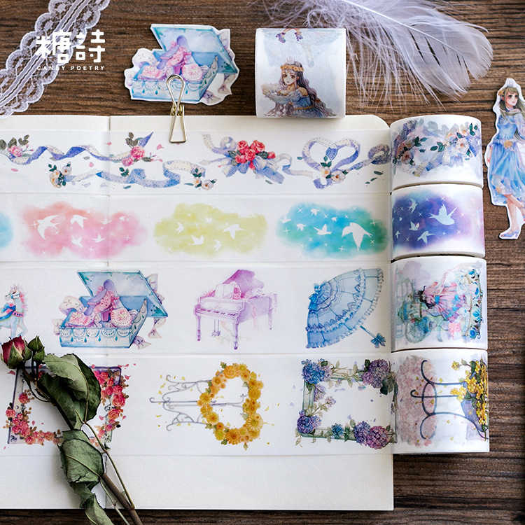 Creative Lace FLOWER Bird Series Decorative Adhesive Tape Masking Washi Tape DIY Scrapbooking Sticker Label Kawaii Stationery