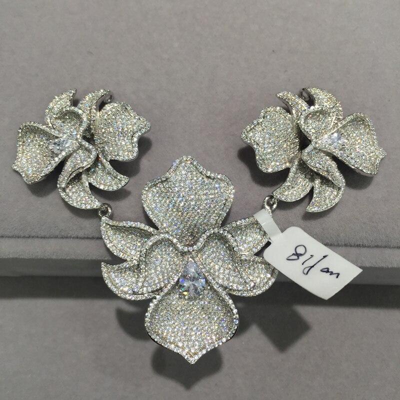 Bijoux à bricoler soi-même trouvailles & composants connecteurs pour collier 3 fleurs orchidée 925 argent avec zircon cubique pavé pierre femmes bijoux - 3