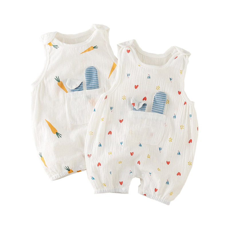 Baby Kids 2019 Summer Romper Sleeveless Cute 100% Cotton Boy Girl Clothes Casual Cartoon Infantil Baby Summer Costume Outfits