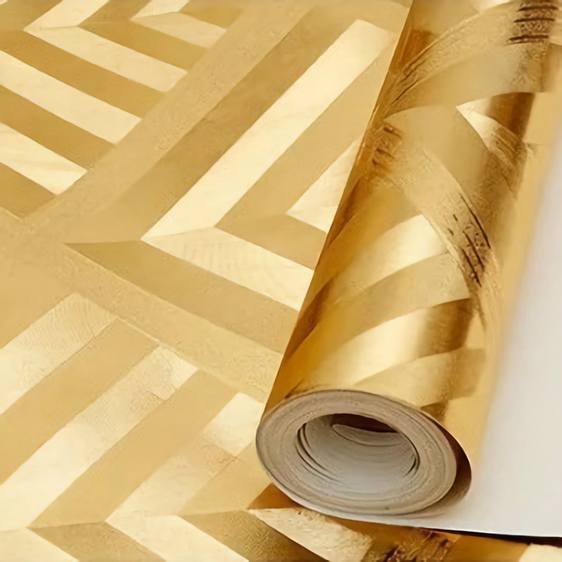 3D Abstract Metallic Wallpaper Roll Gold Silver Wall Paper