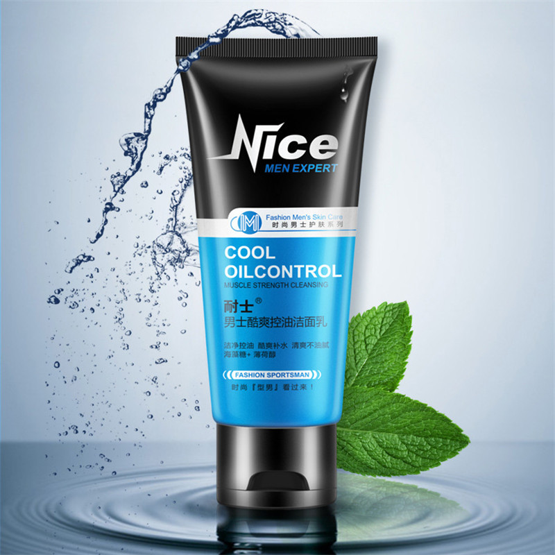 Men Cool Oil Control Deep Cleansing Face Cleanser Whitening Moisturizing Acne Blackhead Skin Care