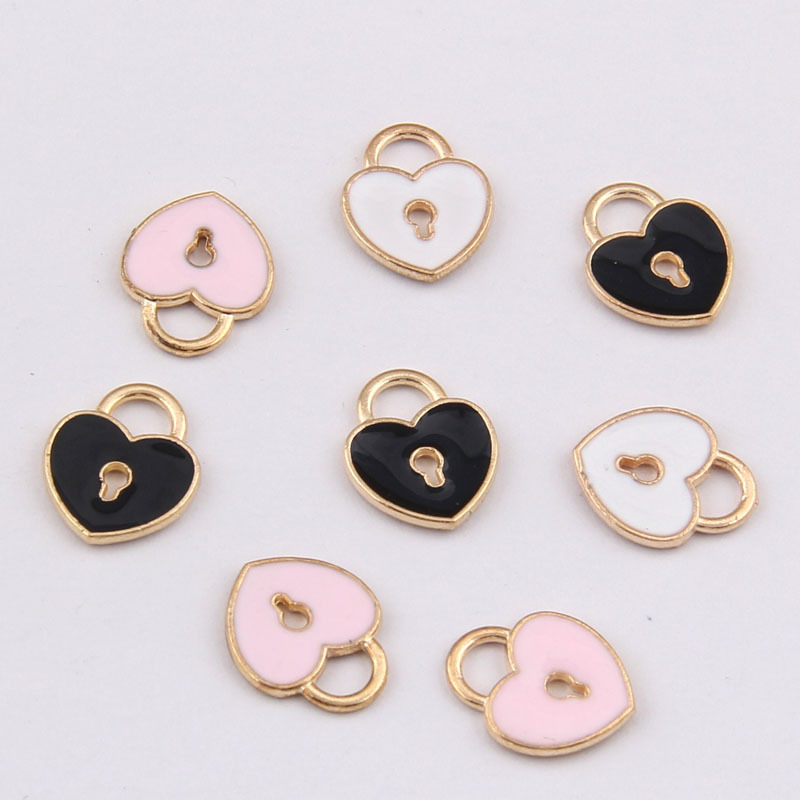 2019 Popular New Alloy Dangle Charms, Enamel <font><b>Lock</b></font> <font><b>and</b></font> Key Of Love Pendant Oil Drop For Metal <font><b>Earrings</b></font> Hair Accessories DIY 30PCS image