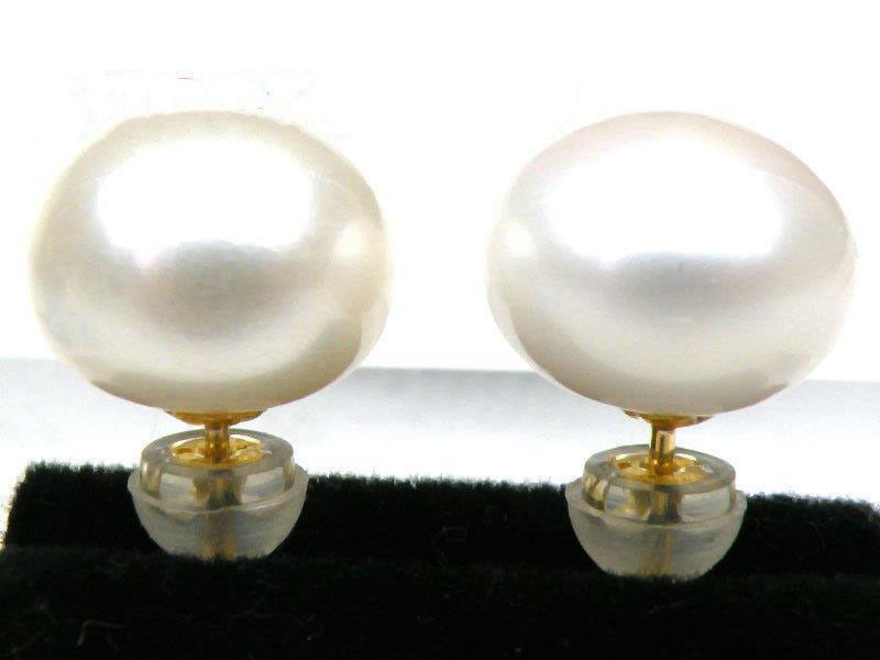 18K Solid Yellow Gold Earring Genuine AAA+++ 10mm White Bread Pearl Earring18K Solid Yellow Gold Earring Genuine AAA+++ 10mm White Bread Pearl Earring
